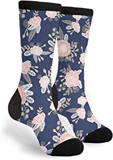 Florals Navy Blush Pink Floral Unisex Adult Fun Cool 3D Print Colorful Athletic Sport Novelty Crew Tube Socks