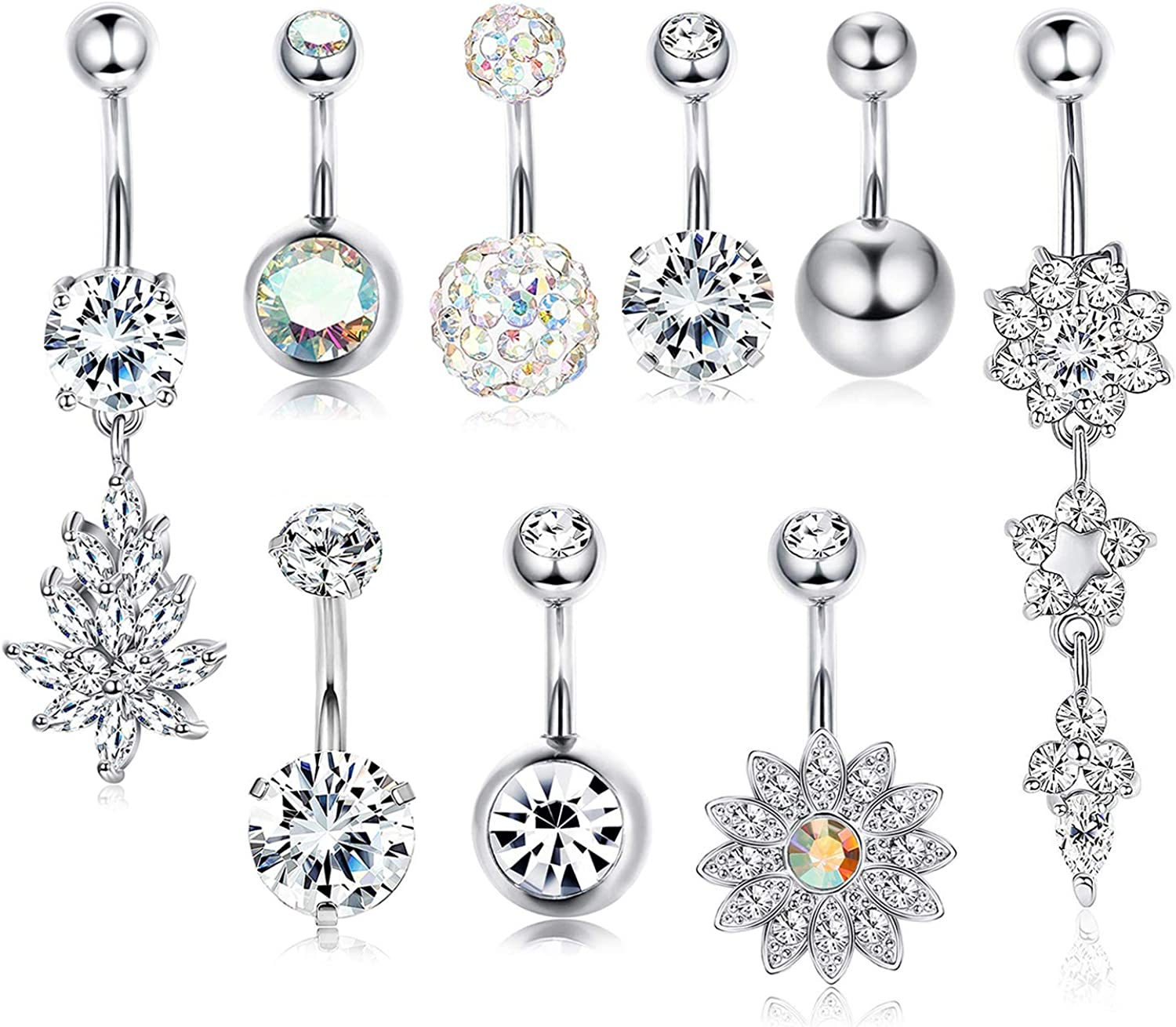 CASSIECA 9 Pcs 14G Stainless Steel Belly Button Rings for Women CZ Navel Ring Piercing Dangle Barbell Flower Pack Body Jewelry