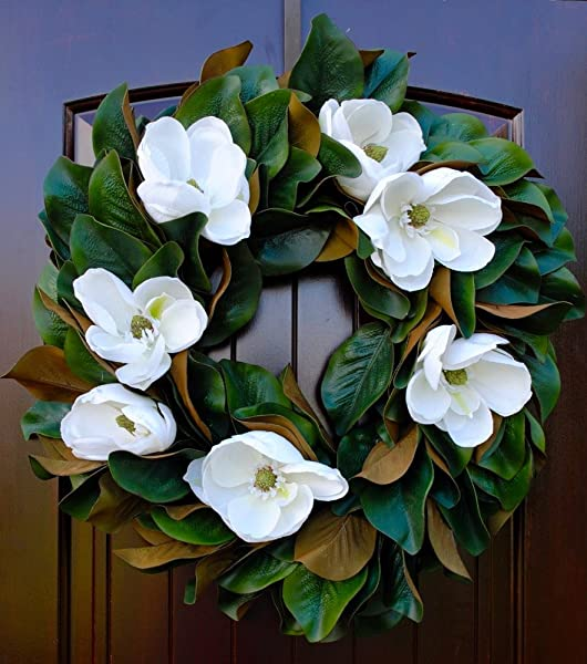 Southern Magnolia Wreath With Magnolia Blooms Magnolia Leaves Round Front Door Wreath 23 24 Diameter
