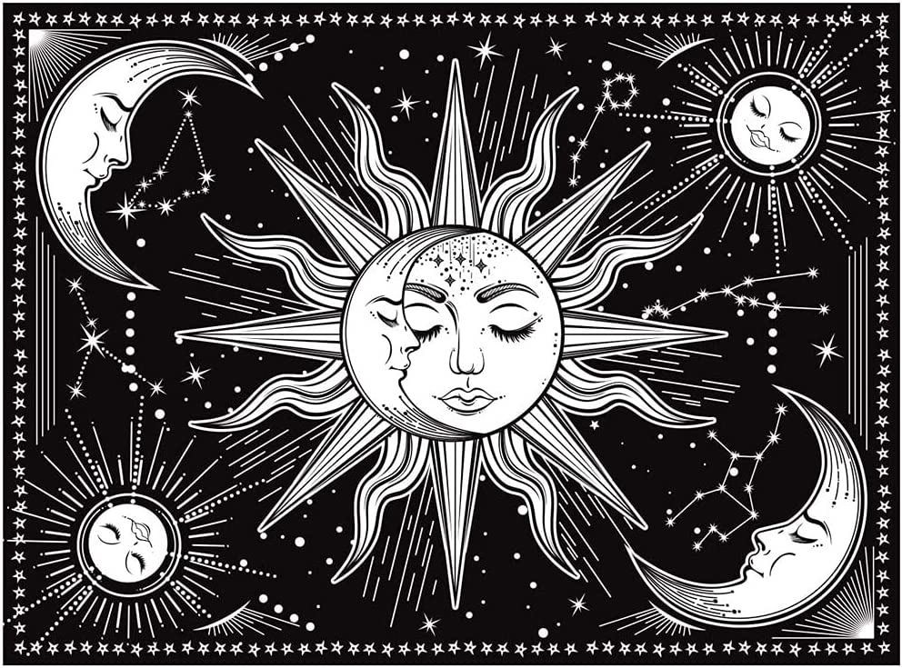 Moon and Sun Tapestry Burning Sun with Star Psychedelic Mystic Wall Hanging Black and White Tapestry Wall Tapestry Poster Art for Home Headboard Bedroom Living Room Dorm Decor