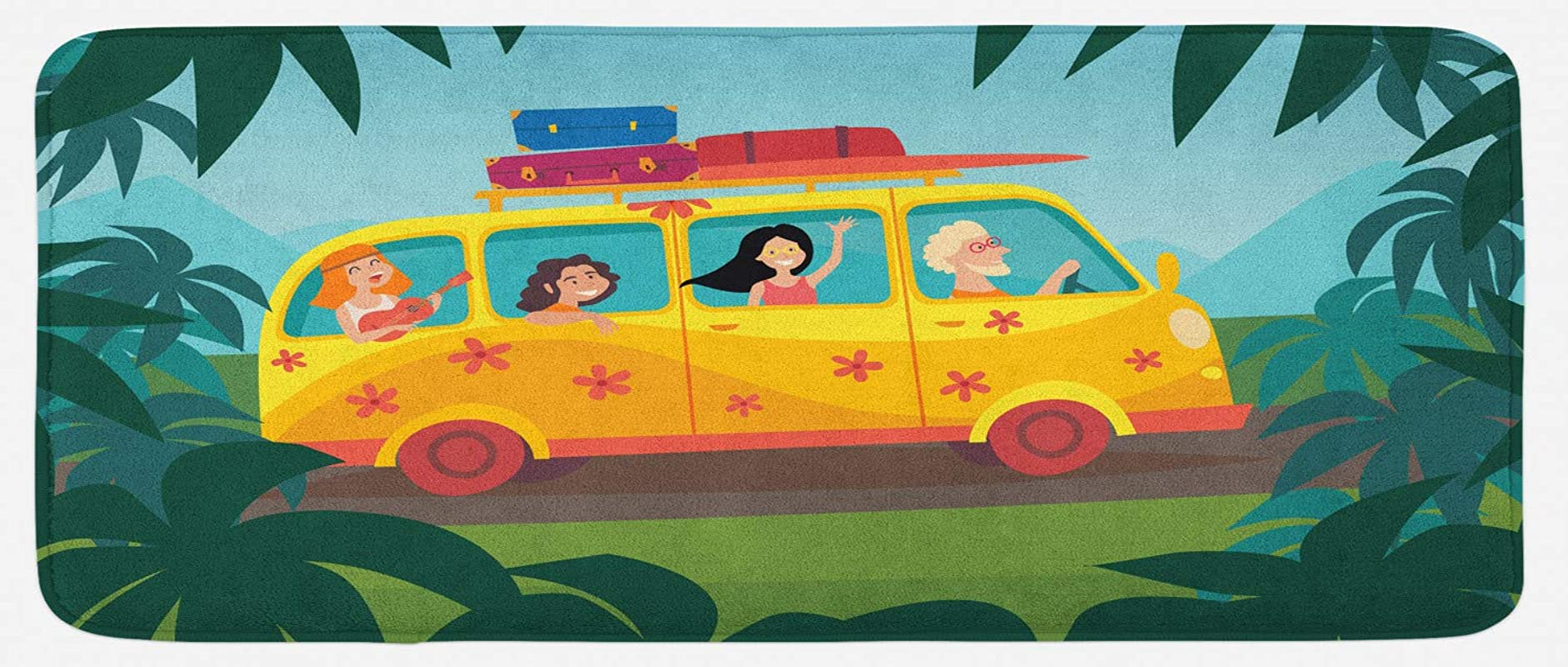 Lunarable Happy Camper Kitchen Mat Happy People In Hippie Bus On Summer Road Trip Palm Background Tourism Concept Plush Decorative Kithcen Mat With Non Slip Backing 47 X 19 Multicolor