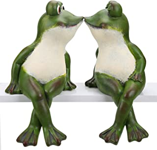 Minigift MN-4001 Resin Pair of Sit Kiss Green Frog Figurines, Valentine Romantic Couple Cute Amphibians ,Garden and Indoor Outdoor Statue - 12