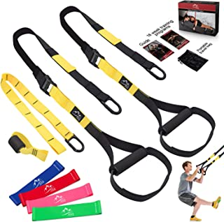 Bodyweight Resistance Training Straps, JDDZ Complete Home Gym Fitness Trainer kit for Full-Body Workout, Included Door Anchor, Extension Strap, 16 Week Program, Fitness Guide and 4 Exercise Loop Bands