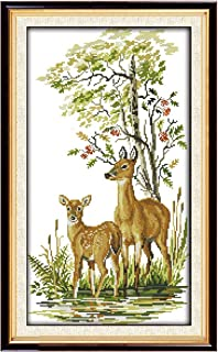 Full Range of Embroidery Starter Kits Stamped Cross Stitch Kits Beginners for DIY Embroidery with 40 Pattern Designs - Deer Family