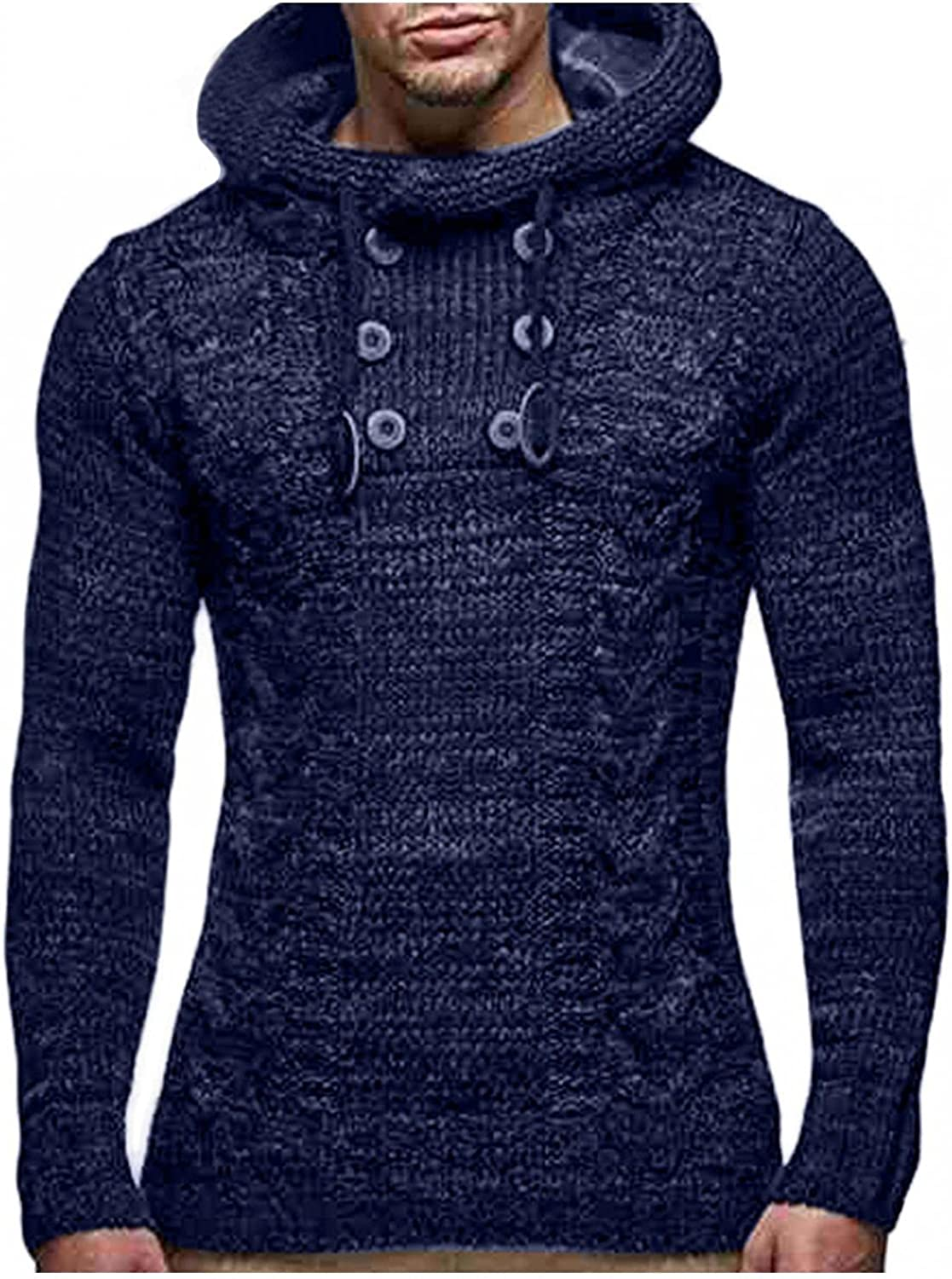 WUAI-Men Knitted Jacket Turtleneck Cardigan Winter Warm Pullover Hoodies Casual Chunky Knitted Sweaters Jumper Tops