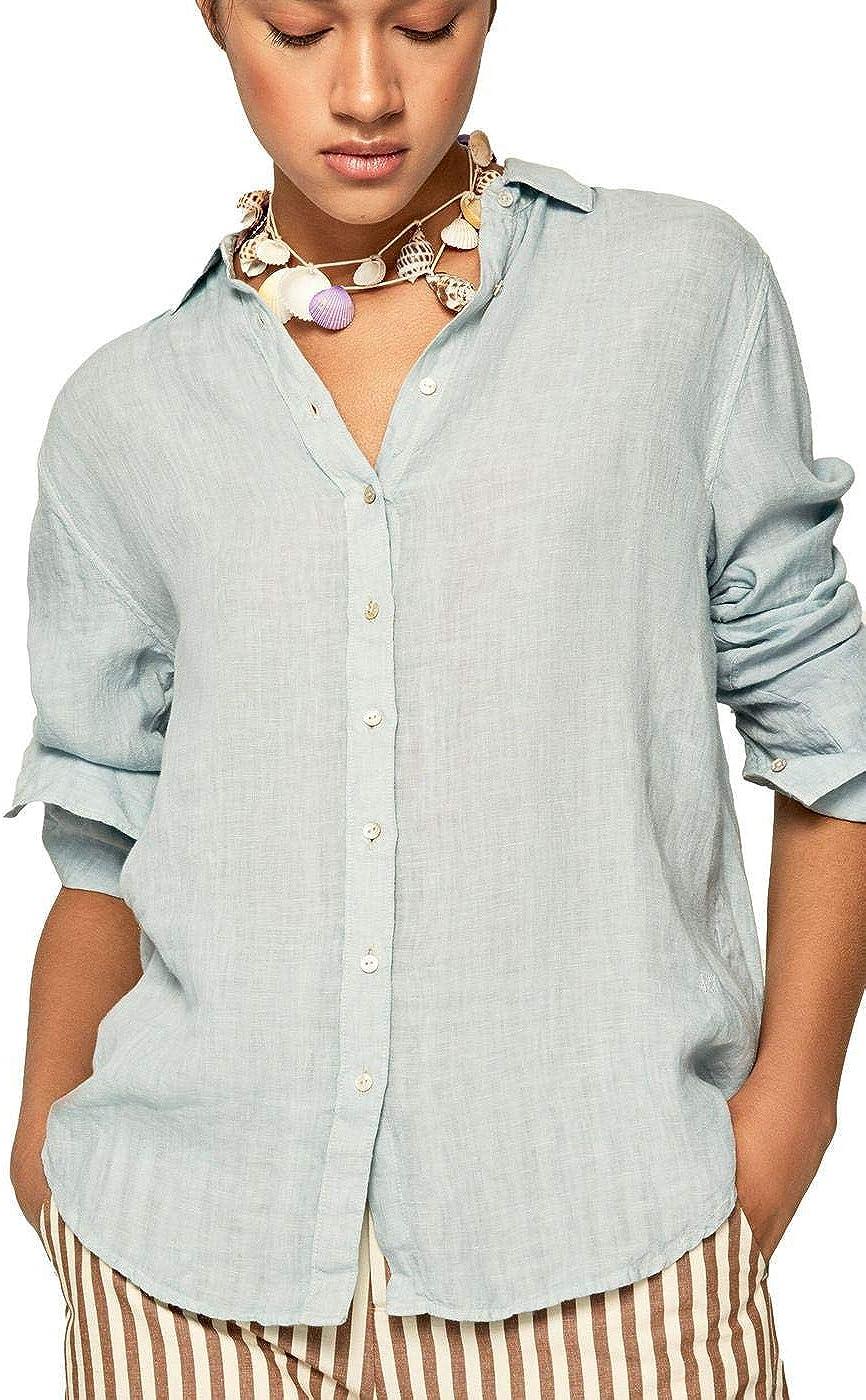 Pepe Jeans Camisa Lino Bella para Mujer Medium Azul: Amazon ...