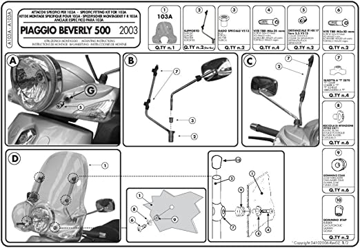 Givi A103a Montagekit Für Scheibe 103a Auto