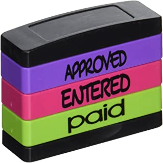 Stack Stamp Pre-Inked Triple Message Stamp, Approved, Entered, Paid (8802)