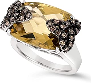 .925 Sterling Silver Long Cushion Yellow Quartz and Chocolate Brown Diamond Ring For Women 1/3 Carats
