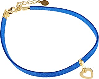 Alwan Faux Leather Medium Size Anklet with Heart for Valentines - EE3723FMHAGM
