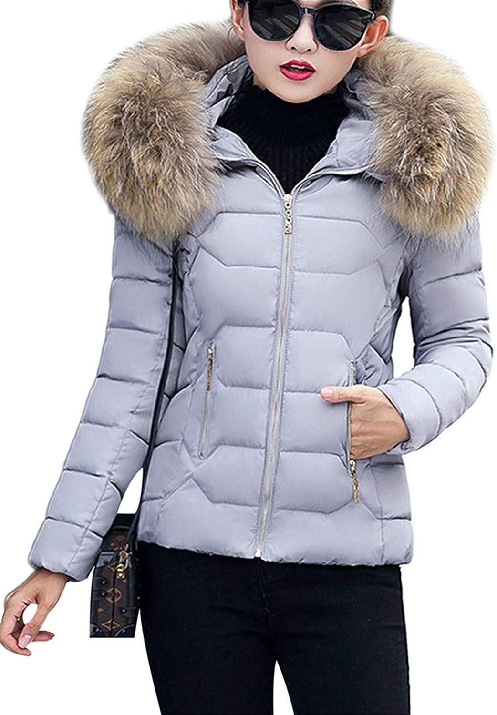 OMZIN Damen Warm Winterjacke Parka Jacke Mantel Kurze mit Fellkapuze Steppjacke Wintermantel