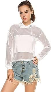 Women's Sexy Long Sleeve Pullover Splicing Top Shirts Sheer Mesh Hoodies