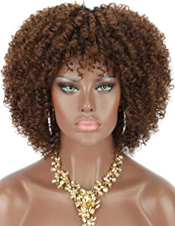 Kalyss Short Kinky Curly Wigs for Women Ombre Brown with Black Roots Premium Synthetic Natural Afro Wigs with Hair Bangs Lightweight Full and Bouncy