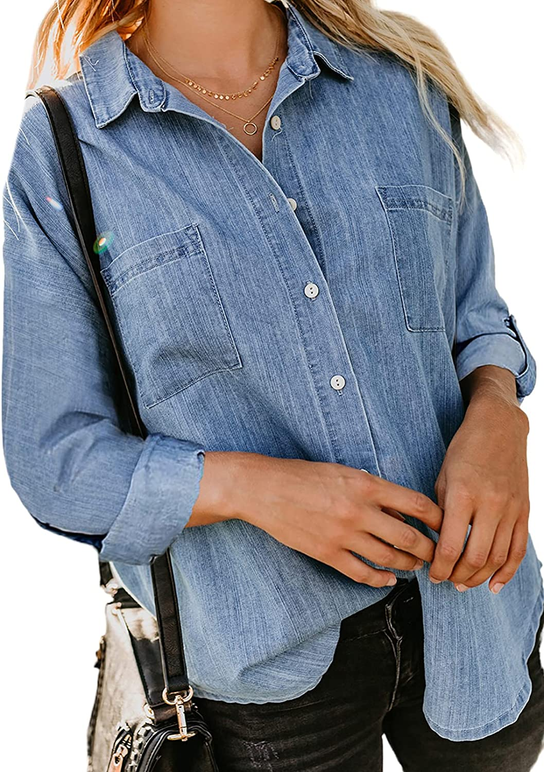 Dokotoo Blouses for Women Casual V Neck Short Sleeve Womens Denim Tops and Blouse