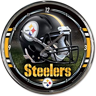 Hall of Fame Memorabilia Pittsburgh Steelers Round Chrome Wall Clock