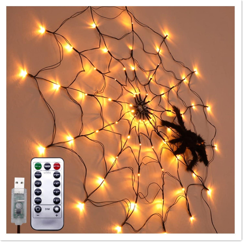 HOMEAIYOU Halloween Black Spider Over item handling ☆ Light-Halloween Decorat 100% quality warranty! LED Web