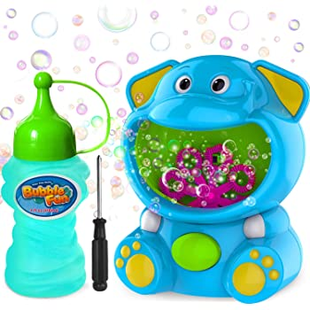WisToyz Bubble Machine Elephant Bubble Blower Bubble Toys 500+ Bubbles Per Minute, Bubble Machine for Kids Toddler with Bubble Solution Indoor Outdoor Bubble Maker Easy to Use 2 AA Batteries Needed