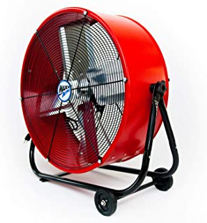 Maxx Air MaxxAir | Industrial Grade Circulator for Garage, Shop, Patio, Barn Use BF24TFREDUPS 24-Inch High Velocity Drum Fan, Two-Speed, Red