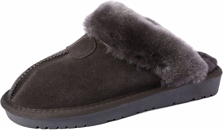 U-lite Women's Winter Warm Cozy Shearling Wool Suede House Slipper, Warm Wool Slippers for Women