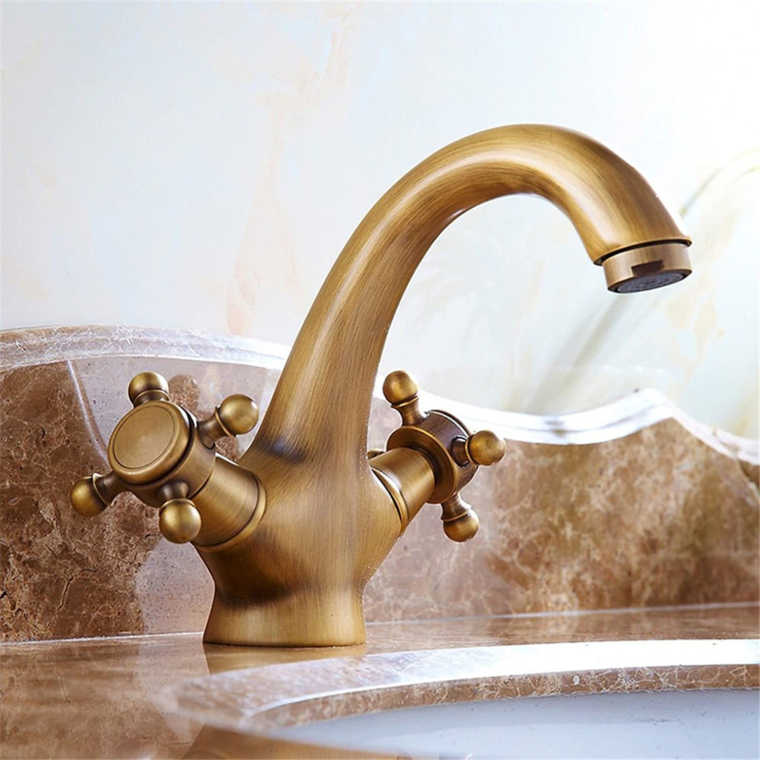 Fbict European Antique gold-Plated Basin Faucet Single Hole Double hot and Cold Copper Main Body Retro Faucet for Kitchen Bathroom Faucet Bid Tap