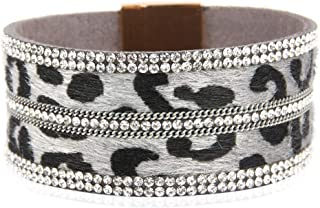 Bohemian Faux Suede Leather Bracelet - Boho Wrist Adjustable Cuff, Animal Print Double Wrap Multi Layer Bangle