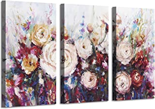 Large Floral Canvas Wall Art: Flower Botanical Pictures Shower Gold Foil Prints on Artwork for Living Room or Bedroom ( 34