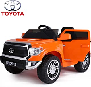 IKON MOTORSPORTS Licensed Toyota Tundra 12V Ride On Car with Remote Control, Electric Pickup Truck for Kids to Drive, Openable Doors, Music Player, Led Lights - Orange