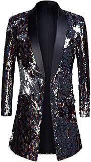 PYJTRL Mens Fashion Shawl Lapel Double-Sided Colorful Sequins Long Suits Jacket Blazer