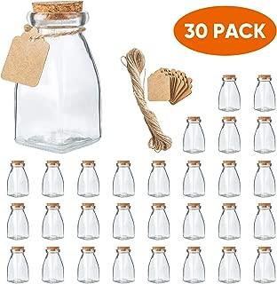 The Square Glass Yogurt Jars,Pudding Jars with cork lids, Dessert Glass jars, 4 Oz Glass Jars for Jam,Milk, Honey, Glass Yogurt container with Labels and Strings.