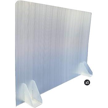 KMINA - Mamparas para Oficinas (Pack x5 uds.), Mampara Protectora Mesa Oficina, Mampara Oficina Plástico, Separador Oficina o Divisor Mesa Escritorio de 70 cm de Largo y 50 cm de Alto: Amazon.es: Hogar