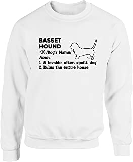 Hippowarehouse Personalised Basset Hound Definition Unisex Jumper Sweatshirt Pullover (Specific Size Guide in Description)