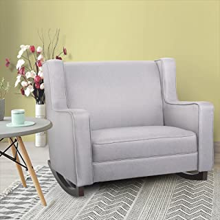 Esright Grey Upholstered Rocking Chair Padded Seat Fabric Rocker for Nursery Comfortable Relax