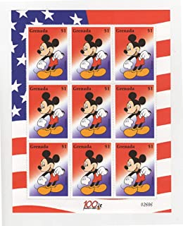 Disney Stamps - Mickey Mouse Stars and Stripes - Sheet of 9 Stamps - Grenada