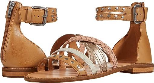 Caramel Multi Waxed Leather/Metallic Full Grain/Suede
