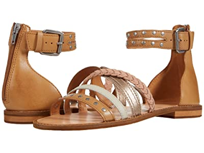 FRYE AND CO. Evie Mixed Strap Stud Sandal (Caramel Multi Waxed Leather/Metallic Full Grain/Suede) Women