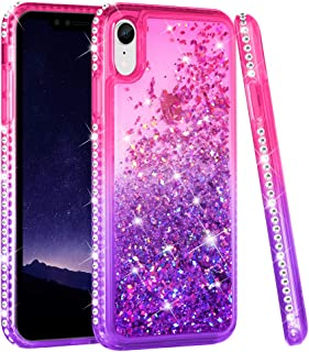 Ruky iPhone XR Case, iPhone XR Glitter Cases for Girls Women Liquid Floating Bling Diamond Rhinestone Soft TPU Protective Phone Case for iPhone XR 6.1 inches (2018) (Pink Purple)
