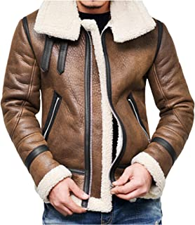 Men's Trench Coat Men's Winter Double Breasted Windproof Jacket Shearling Lined Long Suede Jacket
