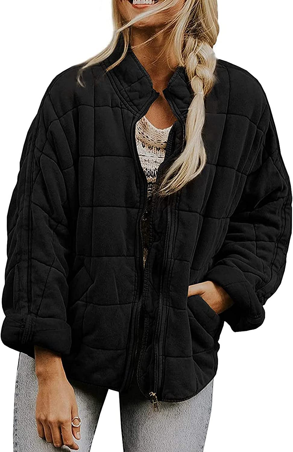 BZSHBS Womens Dolman Lightweight Quilted Jackets Zip Up Long Sleeve Stand Neck Warm Winter Coats Outwears