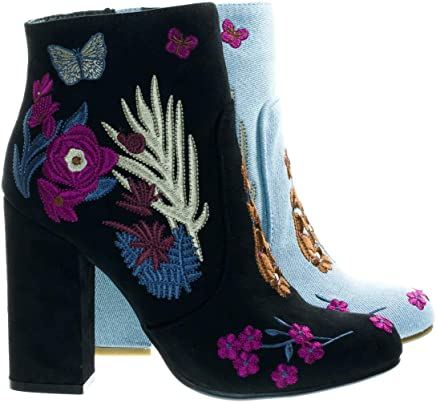 5b7aab4812 Floral Embroidery Block Heel Ankle Bootie w Faux Fur Lining