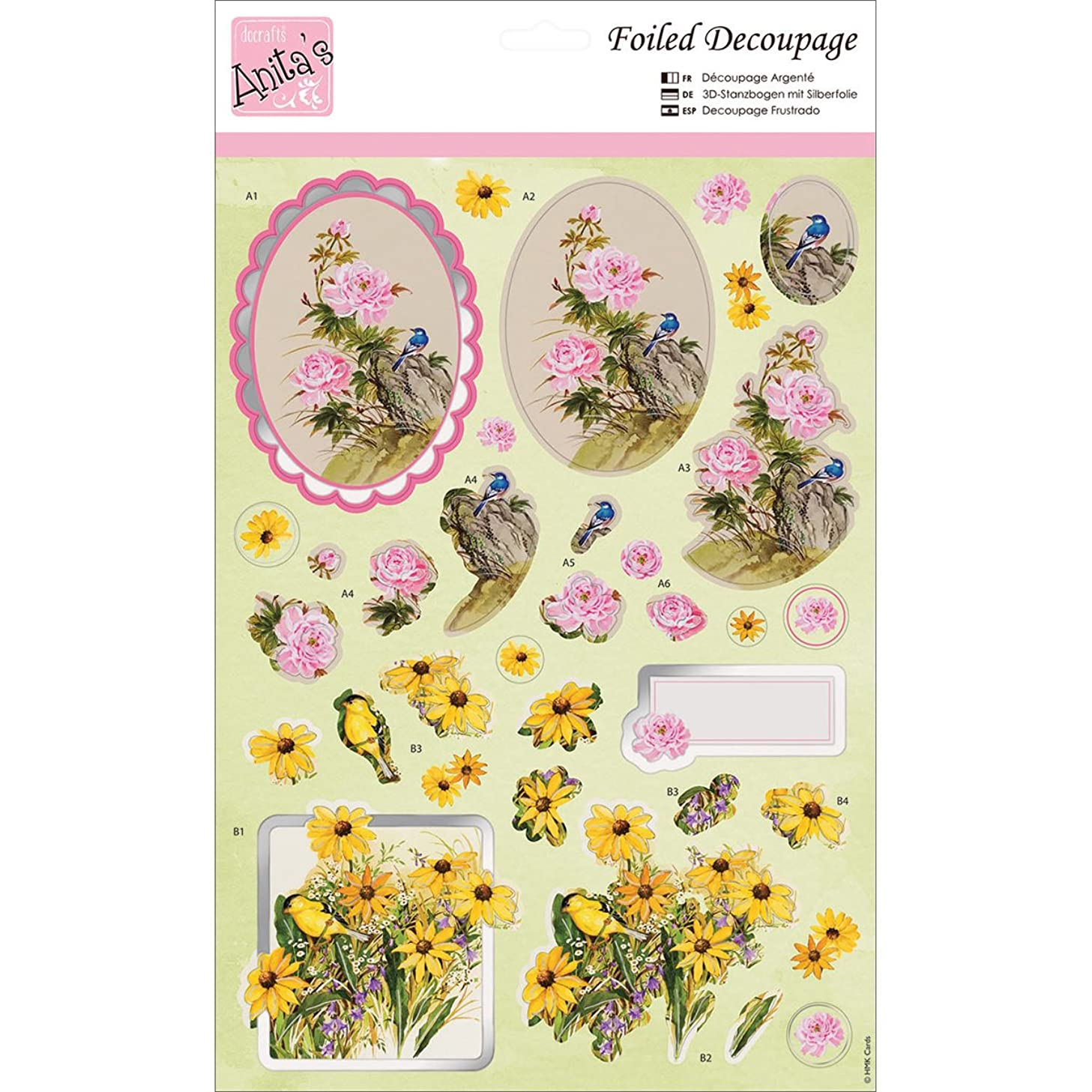 DOCrafts Anita's A4 Foiled Decoupage Sheet, Flowers and Birds