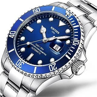 Mens Silver Stainless Steel Rotatable Bezel Sapphire Glass Luminous Waterproof Men's Automatic Watch