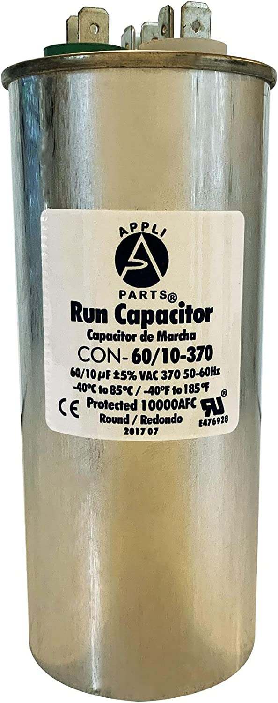 Appli Parts Dual Run Capacitor 60 + 10 Mfd uF (microfarads) 370