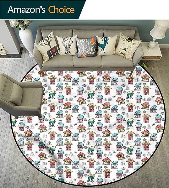 RUGSMAT Christmas Modern Washable Round Bath Mat Cute Noel Theme House Non Slip No Shedding Kitchen Soft Floor Mat Diameter 59