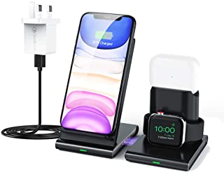 Ibsun Wireless Charger, 3 in 1 Wireless Charging Station for Apple Watch, AirPods Pro/2, Detachable and Magnetic Wireless ...