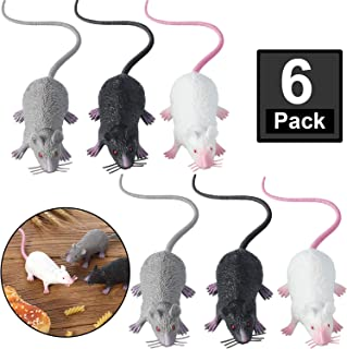 Boao 6 Pieces Halloween Fake Rat Suit, Plastic Rat, Maggot Toy, Halloween Decoration, Entertainment Simulation Mouse, Terrible Prank Props, Party Props, Cats and Dogs Interesting Toys