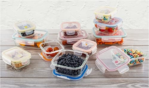 wholesale 24-pc online Glass Food Storage wholesale Containers Lock Tight Silicone Lids Microwave Vents online