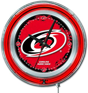 Holland Bar Stool Co. Carolina Hurricanes HBS Neon Red Hockey Battery Powered Wall Clock (15