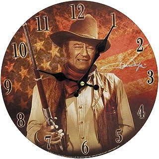 """Midsouth Products John Wayne Clock - John Wayne with Flag 11.75"""" Diameter"""