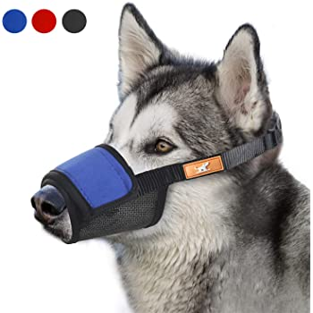 Soft Dog Muzzle Cover with Dogs Hook & Loop for Small,Medium and Large Dogs, Anti Biting and Chewing, Adjustable, Breathable