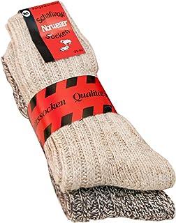 Calcetines para hombre y mujer suaves de lana de oveja noruega (2 pares), hasta talla 50